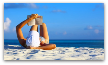 Relaxing reading on the beach